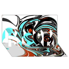 Abstract in Aqua, Orange, and Black MOM 3D Greeting Card (8x4)
