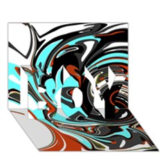 Abstract in Aqua, Orange, and Black BOY 3D Greeting Card (7x5)