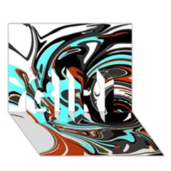 Abstract in Aqua, Orange, and Black GIRL 3D Greeting Card (7x5)