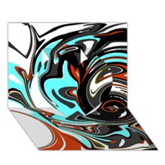 Abstract in Aqua, Orange, and Black Heart 3D Greeting Card (7x5)