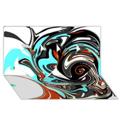 Abstract In Aqua, Orange, And Black Twin Hearts 3d Greeting Card (8x4)