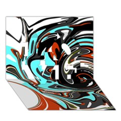 Abstract in Aqua, Orange, and Black LOVE 3D Greeting Card (7x5)