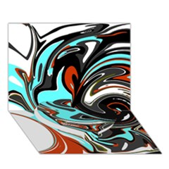 Abstract In Aqua, Orange, And Black Heart Bottom 3d Greeting Card (7x5)