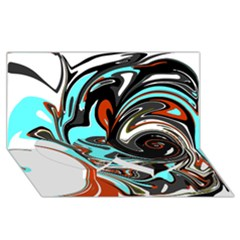 Abstract in Aqua, Orange, and Black Twin Heart Bottom 3D Greeting Card (8x4)