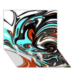 Abstract In Aqua, Orange, And Black Love Bottom 3d Greeting Card (7x5)