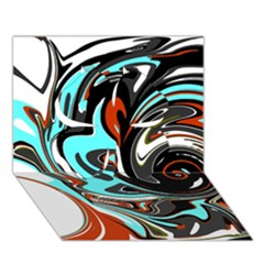 Abstract in Aqua, Orange, and Black Clover 3D Greeting Card (7x5)