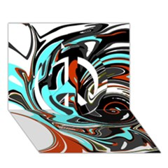 Abstract In Aqua, Orange, And Black Peace Sign 3d Greeting Card (7x5)