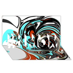 Abstract in Aqua, Orange, and Black #1 MOM 3D Greeting Cards (8x4)