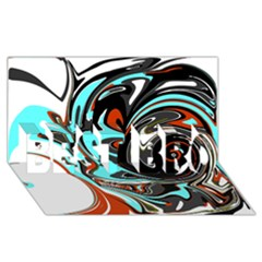 Abstract in Aqua, Orange, and Black BEST BRO 3D Greeting Card (8x4)
