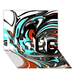 Abstract In Aqua, Orange, And Black Hope 3d Greeting Card (7x5)