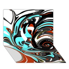 Abstract in Aqua, Orange, and Black Ribbon 3D Greeting Card (7x5)
