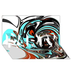 Abstract In Aqua, Orange, And Black Party 3d Greeting Card (8x4)