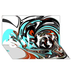 Abstract in Aqua, Orange, and Black SORRY 3D Greeting Card (8x4)