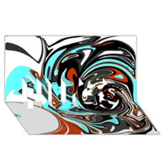 Abstract in Aqua, Orange, and Black HUGS 3D Greeting Card (8x4)