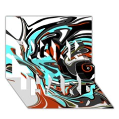 Abstract In Aqua, Orange, And Black Work Hard 3d Greeting Card (7x5)