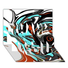 Abstract in Aqua, Orange, and Black THANK YOU 3D Greeting Card (7x5)