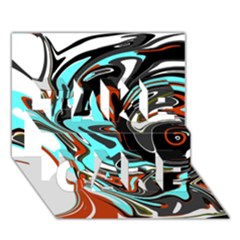Abstract in Aqua, Orange, and Black TAKE CARE 3D Greeting Card (7x5)