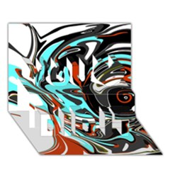 Abstract in Aqua, Orange, and Black You Did It 3D Greeting Card (7x5)