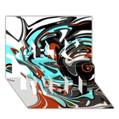 Abstract in Aqua, Orange, and Black Get Well 3D Greeting Card (7x5)
