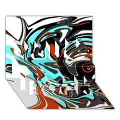 Abstract in Aqua, Orange, and Black You Rock 3D Greeting Card (7x5)