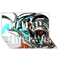 Abstract in Aqua, Orange, and Black Laugh Live Love 3D Greeting Card (8x4)