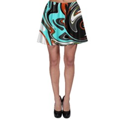 Abstract in Aqua, Orange, and Black Skater Skirts