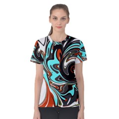 Abstract in Aqua, Orange, and Black Women s Cotton Tees