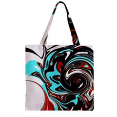 Abstract in Aqua, Orange, and Black Grocery Tote Bags