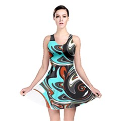 Abstract in Aqua, Orange, and Black Reversible Skater Dresses