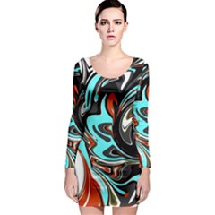 Abstract in Aqua, Orange, and Black Long Sleeve Bodycon Dresses