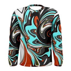 Abstract In Aqua, Orange, And Black Men s Long Sleeve T Shirts