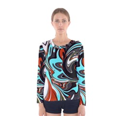 Abstract In Aqua, Orange, And Black Women s Long Sleeve T Shirts