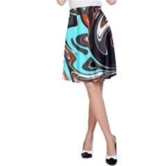 Abstract in Aqua, Orange, and Black A-Line Skirts