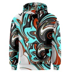 Abstract in Aqua, Orange, and Black Men s Pullover Hoodies
