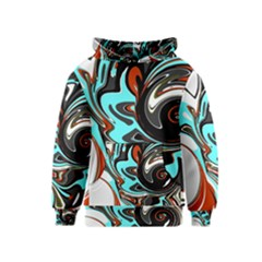 Abstract In Aqua, Orange, And Black Kid s Pullover Hoodies