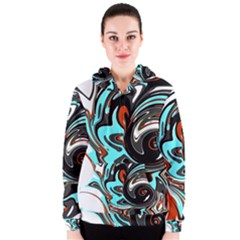 Abstract in Aqua, Orange, and Black Women s Zipper Hoodies