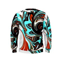 Abstract in Aqua, Orange, and Black Boys  Sweatshirts