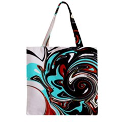 Abstract In Aqua, Orange, And Black Zipper Grocery Tote Bags