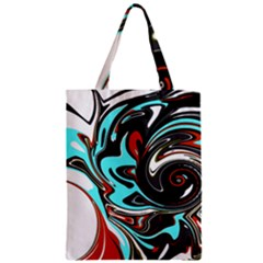 Abstract in Aqua, Orange, and Black Zipper Classic Tote Bags