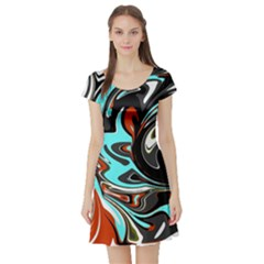 Abstract in Aqua, Orange, and Black Short Sleeve Skater Dresses