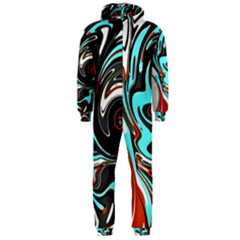 Abstract in Aqua, Orange, and Black Hooded Jumpsuit (Men)