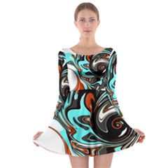 Abstract in Aqua, Orange, and Black Long Sleeve Skater Dress