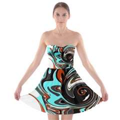 Abstract In Aqua, Orange, And Black Strapless Bra Top Dress