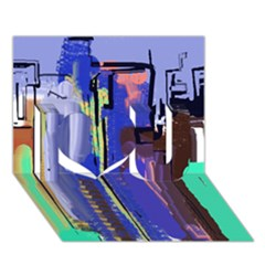 Abstract City Design I Love You 3d Greeting Card (7x5)