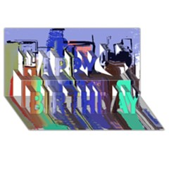 Abstract City Design Happy Birthday 3d Greeting Card (8x4)