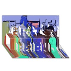 Abstract City Design Best Friends 3d Greeting Card (8x4)