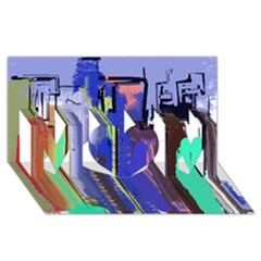Abstract City Design MOM 3D Greeting Card (8x4)