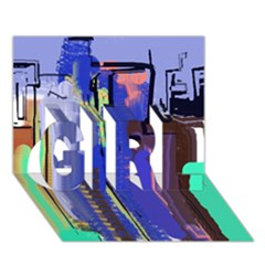 Abstract City Design GIRL 3D Greeting Card (7x5)