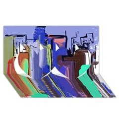 Abstract City Design Twin Hearts 3D Greeting Card (8x4)