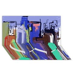 Abstract City Design Twin Heart Bottom 3d Greeting Card (8x4)